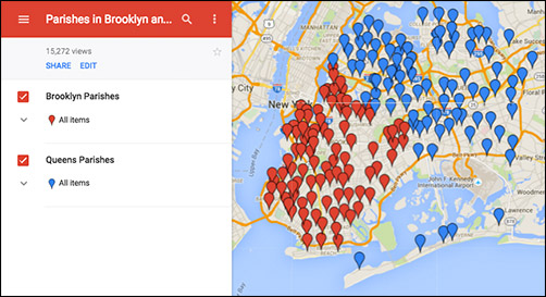 Find a parish with Google maps