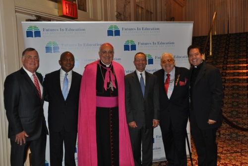 Bishop Nicholas DiMarzio and Monsignor Jamie Gigantiello with 2014 honorees: (From left to right) Richard J. Daly, President and Chief Executive Officer at Broadridge Financial Solutions, Inc.; Lester J. Owens, Global Head of Wholesale Banking Operations at JP Morgan Chase & Co; Domenick A. Cama, Senior Executive Vice President and Chief Operating Officer at Investors Bank; and Joseph M. Mattone, SR., Chairman and Chief Executive Officer at The Mattone Group.