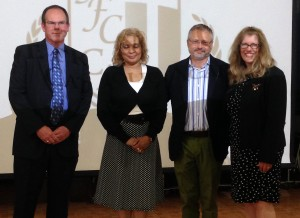 Left to right: Thomas Winters, Chairperson for St. Frances Cabrini Catholic Academy; Assemblywoman Davila; Przemyslaw Murczkiewicz, Academy Principal; Anne-Marie Baumis, Associate Superintendent for Government Programs and Services for the Diocese of Brooklyn.