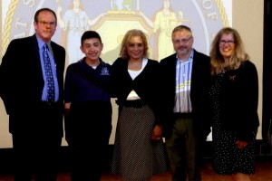 Left to right: Thomas Winters, Chairperson for St. Frances Cabrini Catholic Academy; student that received a full scholarship to Regis High School; Assemblywoman Davila; Przemyslaw Murczkiewicz, Academy Principal; Anne-Marie Baumis, Associate Superintendent for Government Programs and Services for the Diocese of Brooklyn.