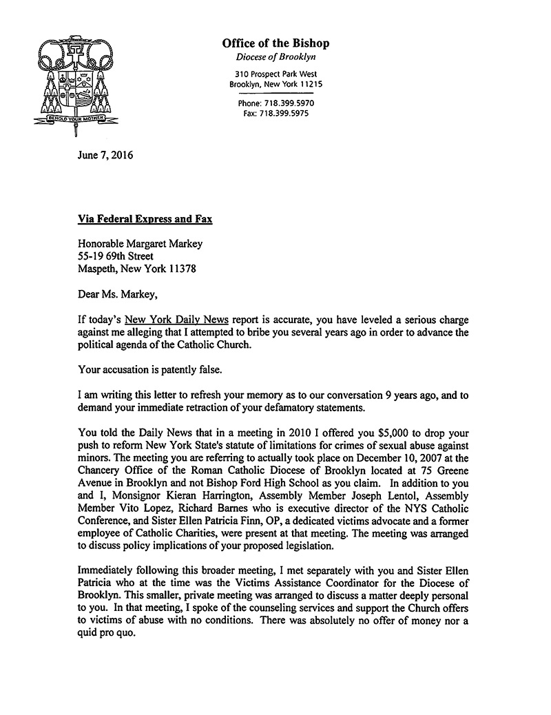 Bishop DiMarzio letter to Margaret Markey first page
