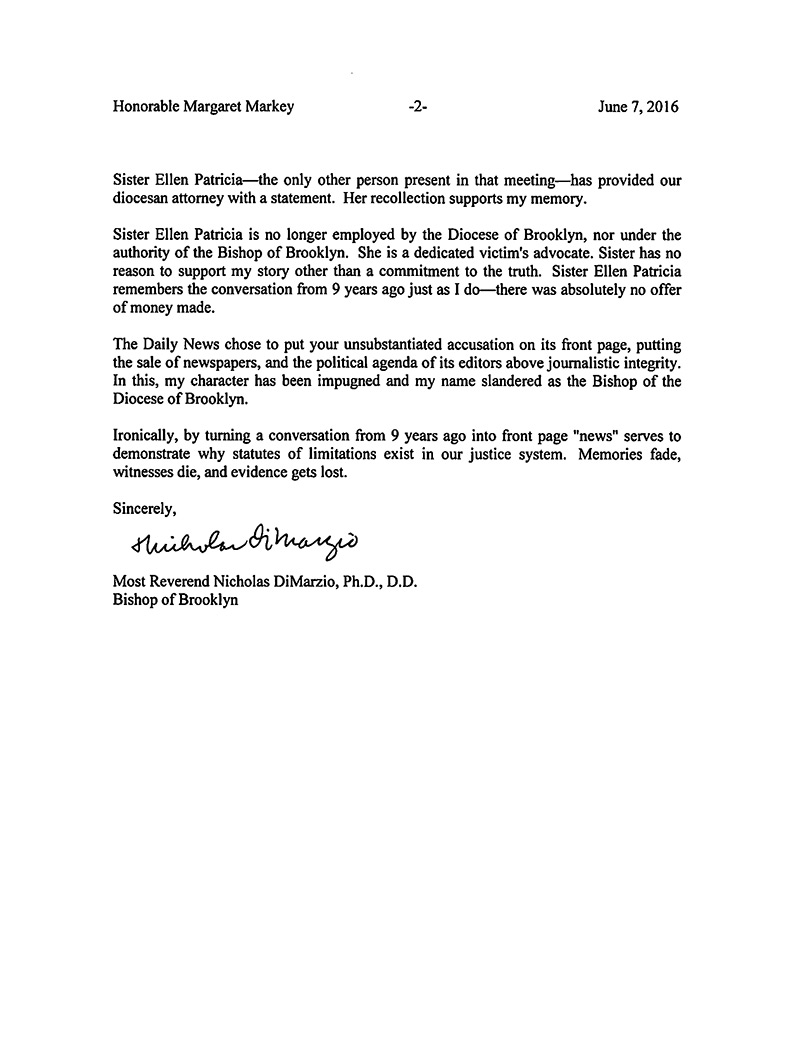Letter From Bishop Nicholas Dimarzio To Honorable Margaret Markey