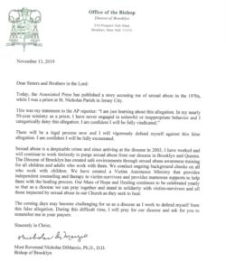 Letter from Bishop DiMarzio