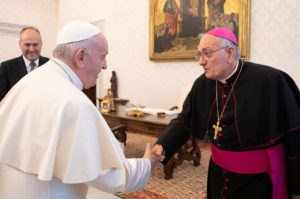 Bp DiMarzio with Pope Francis at the Ad Limina Meeting