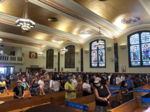 OLOMC parishioners in prayer